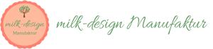 Logo der milk-design Manufaktur mit Schriftzug