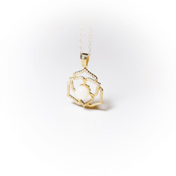 Goldene Kristallblume | Erinnerungsschmuck